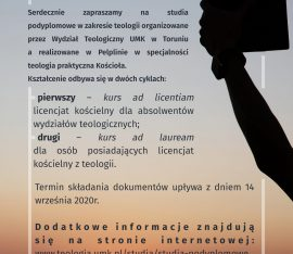 STUDIA PODYPLOMOWE W ZAKRESIE TEOLOGII REALIZOWANE W PELPLINIE 2020/21